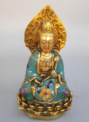 Chinese Old Hand-carved pure brass cloisonne guanyin bodhisattva statue YR