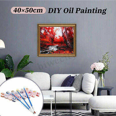 DIY Paint By Numbers Kit Oil Scenery Painting Canvas Home Wall Art Decor 40×50cm