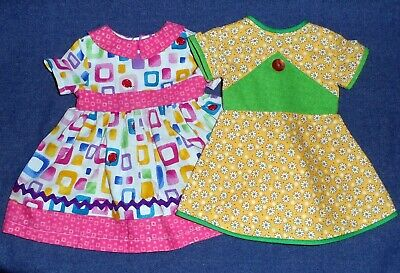 """18"""" Doll Handmade Clothes OOAK Set 2 Day Dresses Fits American Girl Pink Yellow"""