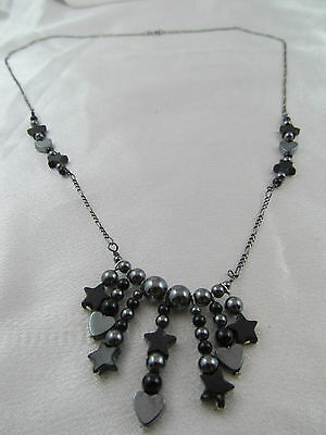 Vintage STERLING SILVER & HEMATITE HEARTS & STARS NECKLACE, Unique, Stamped