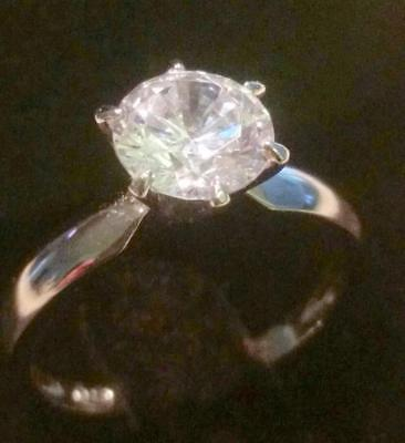 2.00 Ct Round cut Diamond Solitaire Engagement Ring White Gold Platinum Finish