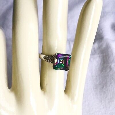 NATURAL MYSTIC FIRE 4.42ct TOPAZ PRINCESS CUT STERLING SILVER COCKTAIL RING