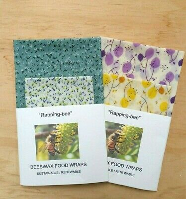 BEESWAX FOOD WRAPS 2Pack 1 extra large (35x35) 1 med (25x28) Say no to clingwrap