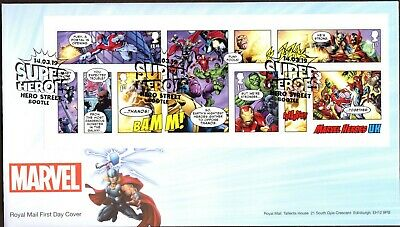GB 2019 Royal Mail Marvel Super Heroes M/S Bootle P/M F.D.C Unaddressed