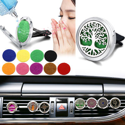 Car Vent Clip Air Freshener Essential Oil Diffuser 316L Steel Locket Free 10Pads