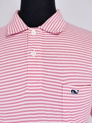 116904ab05 Mens Vineyard Vines Golf Polo Shirt Pink White Stripes Whale Short Sleeve  SZ M