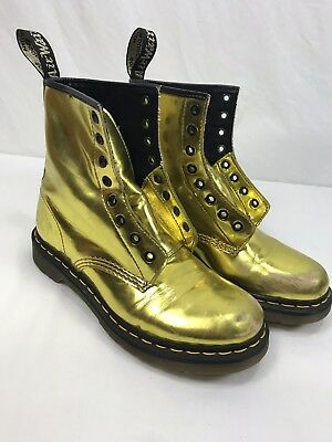 4f8fdd838ab9 Dr. Martens 1460 Metallic Gold Koram Flash Shiny Boots 8 Eye Womens Size (US