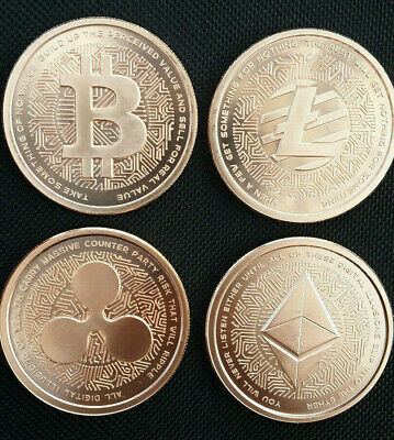 (4) ROUNDS Silver Shield MiniMintage Bitcoin / Litecoin / Ethereum / Ripple