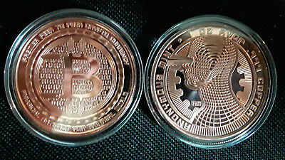 """BITCOIN """" THE GUARDIAN """" - 3rd in Series Anonymous Mint - 1oz Copper in Capsule"""
