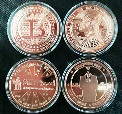 (3) COINS IN CAPSULES - BITCOIN - Complete Series ANONYMOUS MINT - 1oz Copper BU