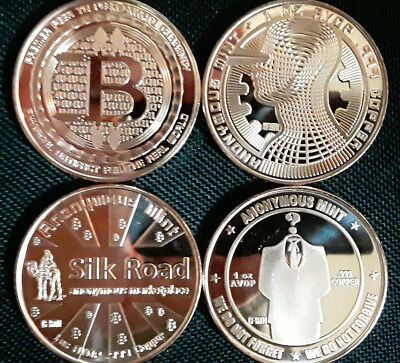 (3) COINS - BITCOIN - Complete Series from ANONYMOUS MINT - 1oz .999 fine Copper