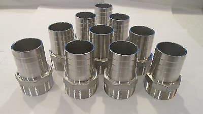 "10-NEW!!! Stainless Steel 2"" hose barb X 2"" male thread, NPT"