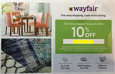 Wayfair.com 10% off coupon exp:5/31/2019