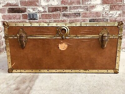 Antiques 2 Antique Vintage Suitcase Luggage Steamer Trunk Coat Hanger Bracket Part #2 Furniture