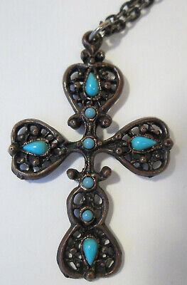 Dark Bronze Filigree Cross Crucifix Pendant Necklace with Sky Blue Bead Accents