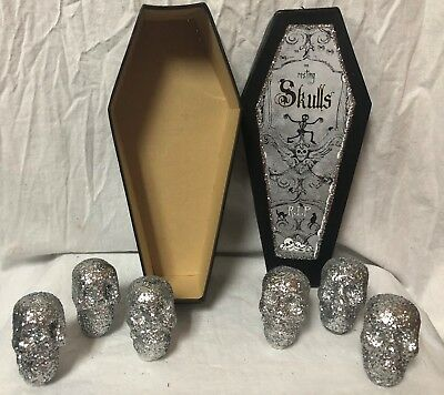 "Bethany Lowe S/ 6 HALLOWEEN 2 1/2"" Resin 11"" SKULLS IN A COFFIN ~ LO9425-RETIRED"