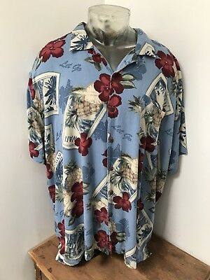 c73c010c Mens CARIBBEAN JOE 4XL XXXXL Hawaiian Aloha Shirt Rayon Casual Lounge Floral