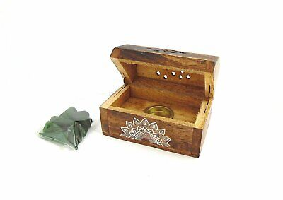 New 1pce 9cm Wooden Incense Cone Coffin Style Box with Mandala