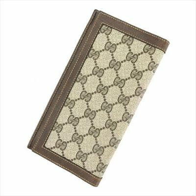 a16745021eff Gucci Wallet Purse GG Plus Beige Brown PVC leather Woman Authentic Used  D1961