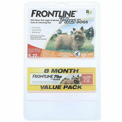 FRONTLINE Plus for Dogs, Flea and Tick Treatment, 8 ct. (Choose Your Size)