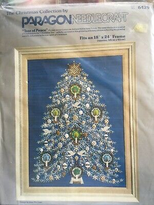 Paragon Christmas 'TREE OF PEACE' Stamped Crewel Embroidery Applique Kit 6429*