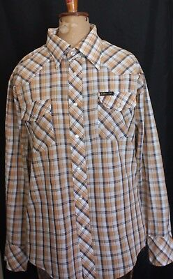VINTAGE 1970'S RANCH BAR Tan Navy White Plaid Check Rockabilly Western Shirt 20