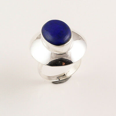 925 Solid Sterling Silver Adjustable Ring Sz US 7, Natural Lapis Jewelry CR71