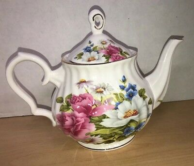 GRACE'S TEAWARE ROSE  White  Flowers TEAPOT NEW  VERY SHABBY CHIC