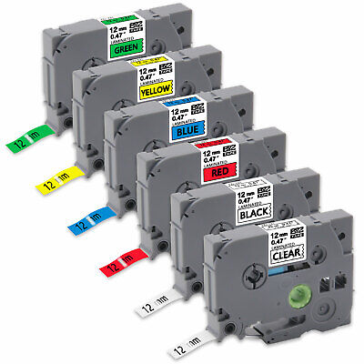 "6PK Compatible/Brother p-touch printer TZe131-731 12mm 0.47"" Label Tape PT-D200"