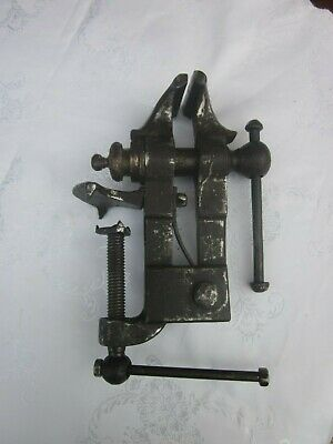 Vintage really old tool unusual round bench vice rare one off