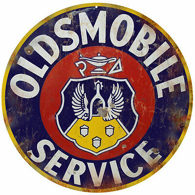 Oldsmobile Automobile Service Crest Design Reproduction Circle Aluminum Sign