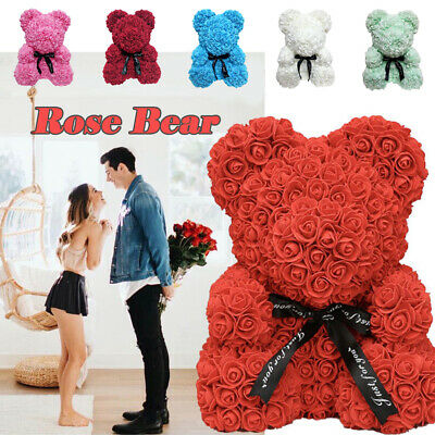 Rose Bear Teddy Bear Large Huge Luxury 40CM Pe Foam Rose Valentine's Day Gift UK