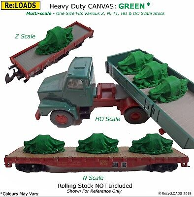 GREEN 'Canvas' Tarped Covered Sheeted Model Road & Rail Load, N, Z Scale