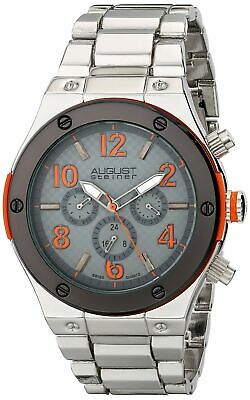 August Steiner Men's AS8126OR Silver Multifunction Swiss Quartz Watch with Orang