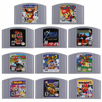 US Vesion 118 games N64 Mario,Smash Bros,Zelda Video Game Cartridge Console