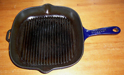Vintage Chasseur Invicta made in France cast iron skillet grill pan blue 410x285