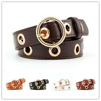 Women Fashion Hollowed-out Air Eye Waist Belt Faux Leather Buckle Waistband 1pcs