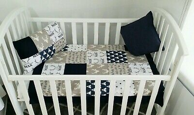 "New handmade Baby boy ""Little Man"" Woodland theme  Cot toddler bed Quilt set."