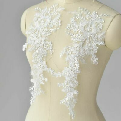 1 Pair Lace Applique Motifs Floral Trim Wedding Bridal Embroidery Sew Crafts DIY