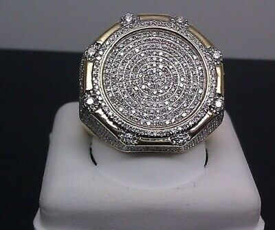 Vintage 10K Yellow Gold Filled White Sapphire Ring Women Men's Wedding Jewelry