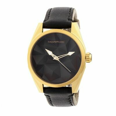 Morphic M59 Series Leather-Overlaid Nylon-Band Watch - GoldBlack