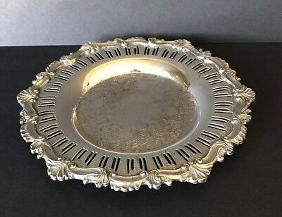 Old English Reproduction Silver Played Calling Card Tray