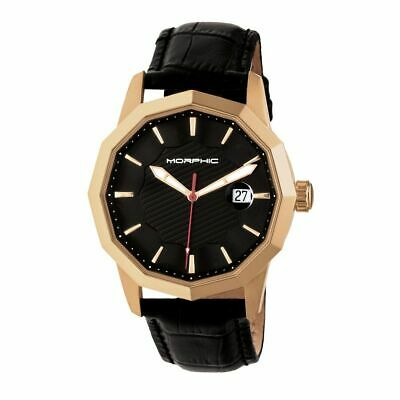 Morphic M56 Series Leather-Band Watch wDate - Rose GoldBlack