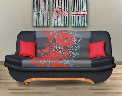 New Modern Click-Clack Sofa Bed 3 Seater / With Storage & Cushions