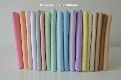 Pastel Shades Selection | Wool Mix Felt Pack | 18 Sheets | Size Options
