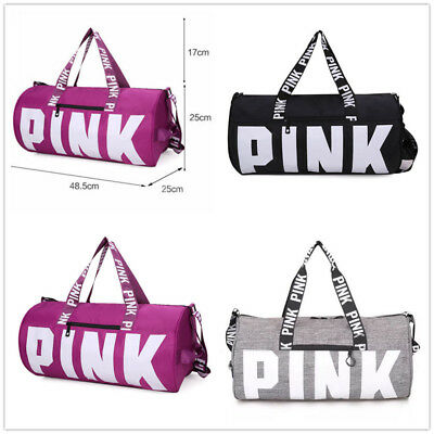 PINK Grey Canvas Duffle Bag Yoga Holiday Gym Travel Weekend Victoria
