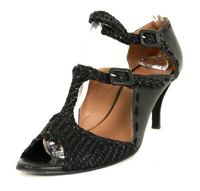 468e69e10670 HERMES Black Leather   Suede Woven Strappy Side Buckle Heels Sandals 37