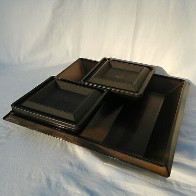 Tupperware Get Togethers Black Buffet Tray Divided Dish Square Server Set 1385
