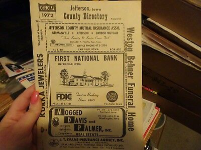 1972 Jefferson County Iowa Official Farm Plat Book And Farm Directory