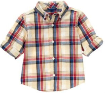 Gymboree LONDON LAD tan red blue plaid long sleeve top size 3-6 months NWT